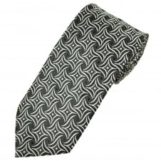 Black & Silver Patterned Men's Extra Long Tie