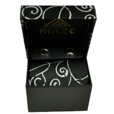 Black & Silver Patterned Men's Tie & Cufflinks Set