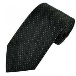 Black & Silver Polka Dot Men's Silk Tie - Gift Boxed