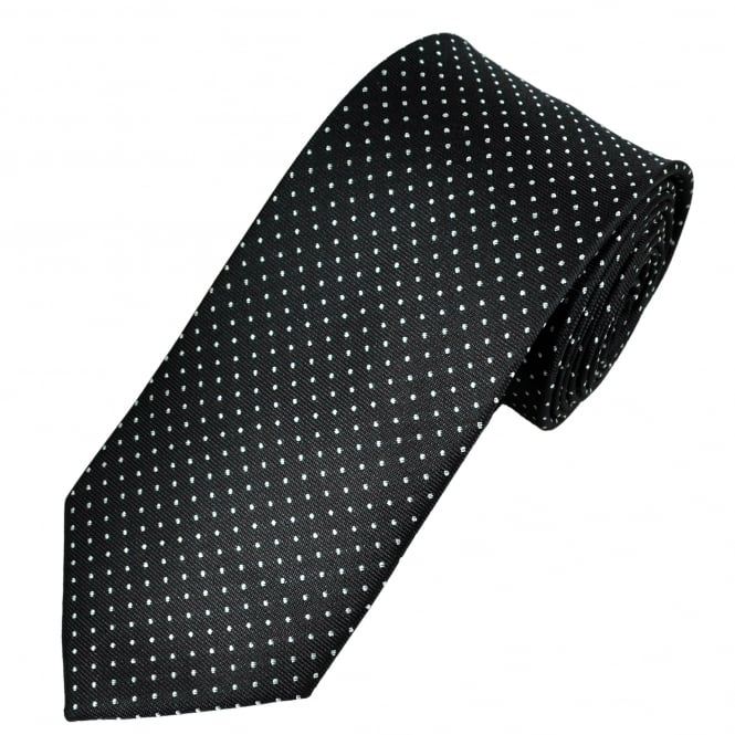 Black & Silver Polka Dot Patterned Men's Tie