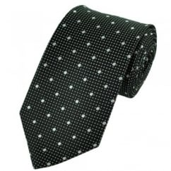 Black & Silver Polka Dot Spot Patterned Tie