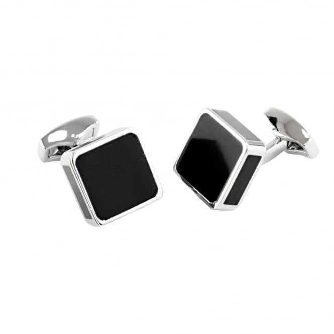 Black & Silver Square Enamel Cufflinks
