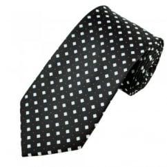 Black & Silver Square with Red Polka Dot Patterned Men's Tie
