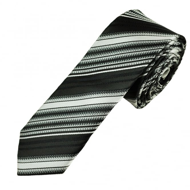 Black & Silver Striped Men's Skinny Tie