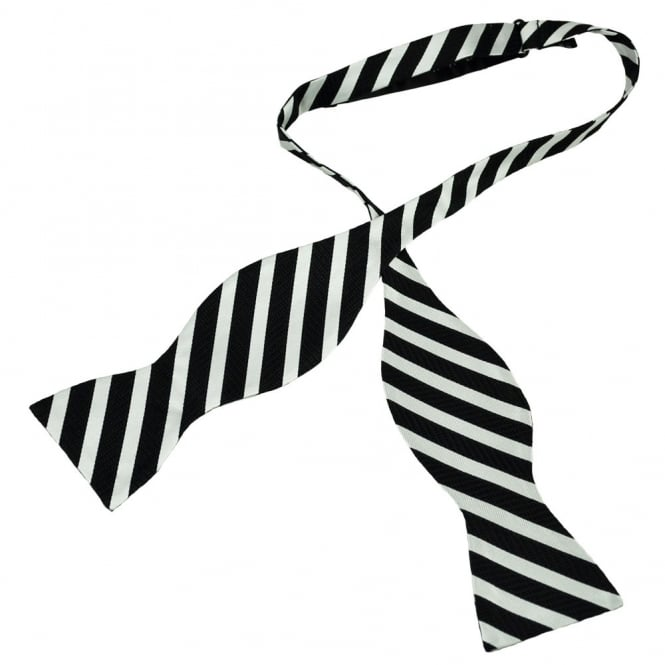 Black & Silver Striped Self Tie Silk Bow Tie