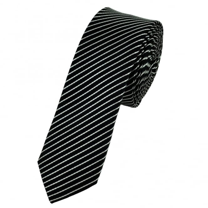 Black & Silver Striped Silk Skinny Tie