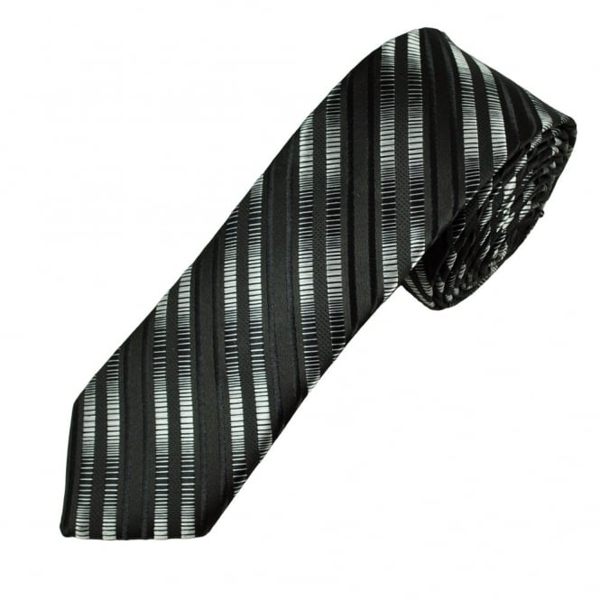 Black & Silver Striped Skinny Men's Tie