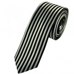 Black & Silver Vertical Striped Skinny Tie