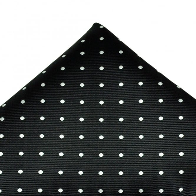 Black & Silver White Polka Dot Pocket Square Handkerchief