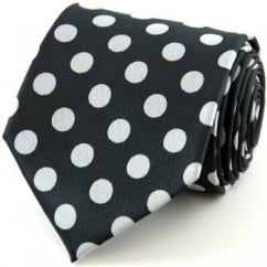 Black & Silver-White Polka Dot Tie
