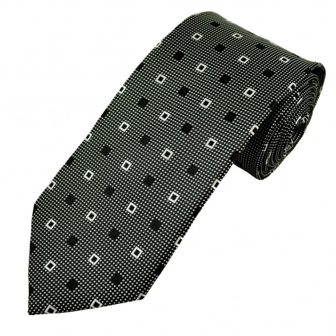 Black & Silver White Square Patterned Men's Tie