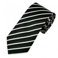 Black & Silver-White Striped Men's Tie