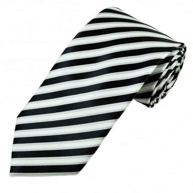Black, Silver & White Striped Men's Tie