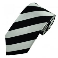 Black & Silver-White Striped Silk Tie
