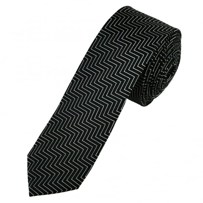 Black & Silver Zig Zag Patterned Silk Skinny Tie