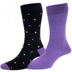Black Spotted & Plain Purple Men's Socks by HJ Hall - 2 Pair Multi-pack