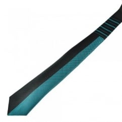 Black & Turquoise Striped & Checked Patterned Narrow Tie