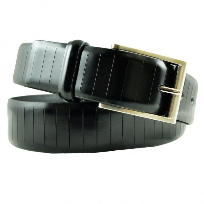 Ties Planet Black Vertical Cut Men's Premium Leather Belt