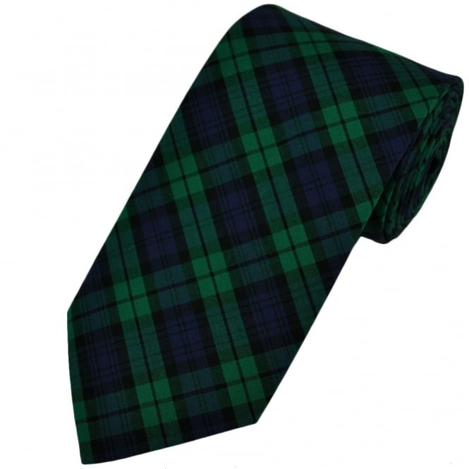 Black Watch Tartan Patterned Tie by Van Buck