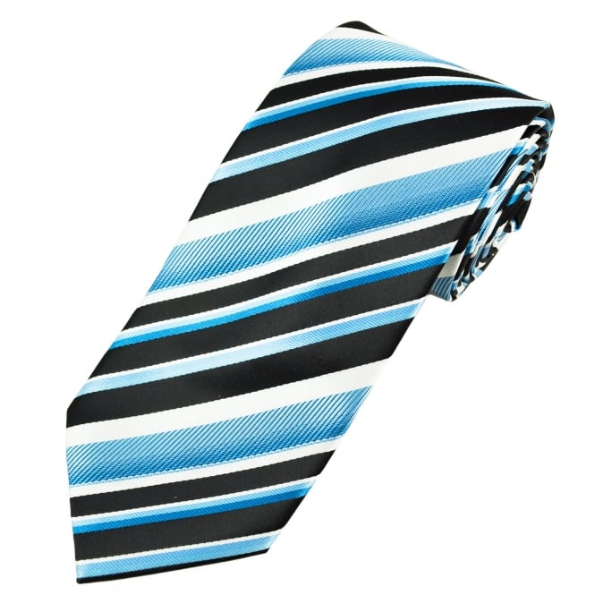 Black, White & Blue Striped Men's Tie