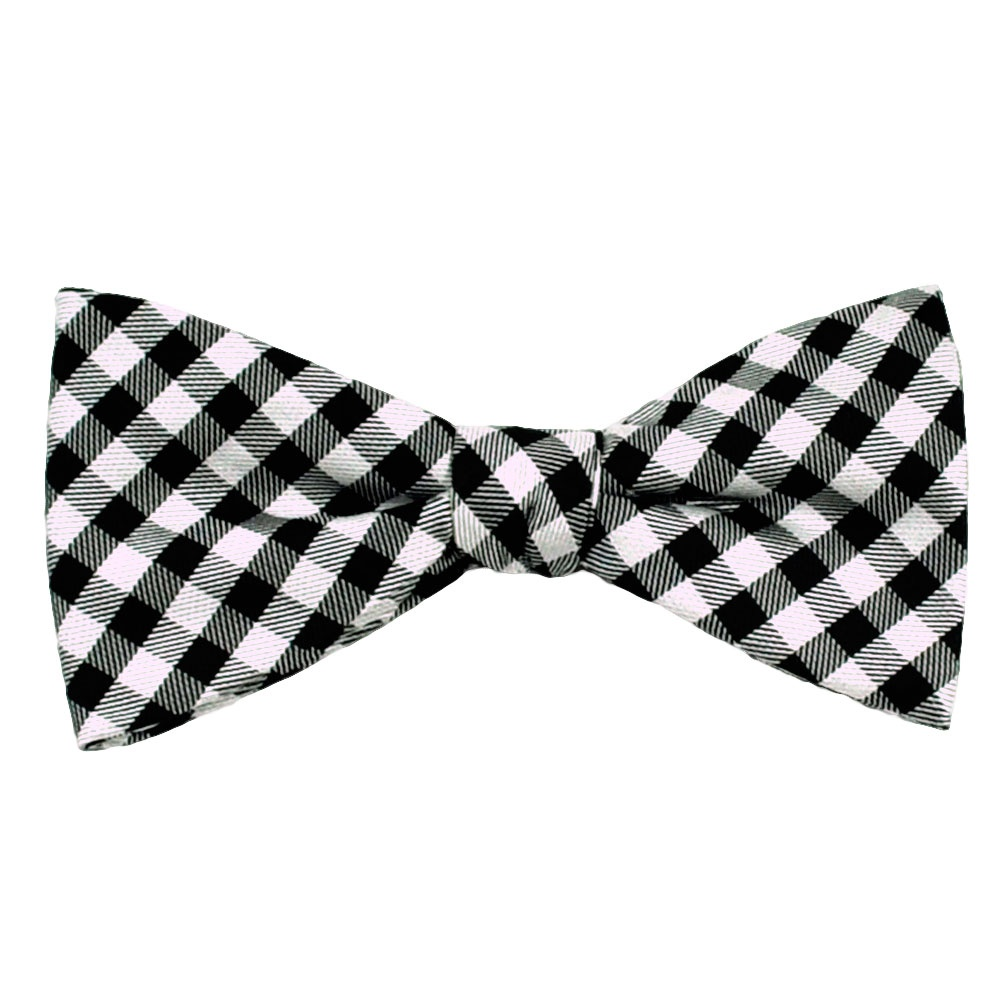 black amp white checked patterned silk bow tie from ties