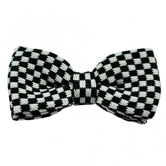 Black & White Checkerboard Knitted Bow Tie