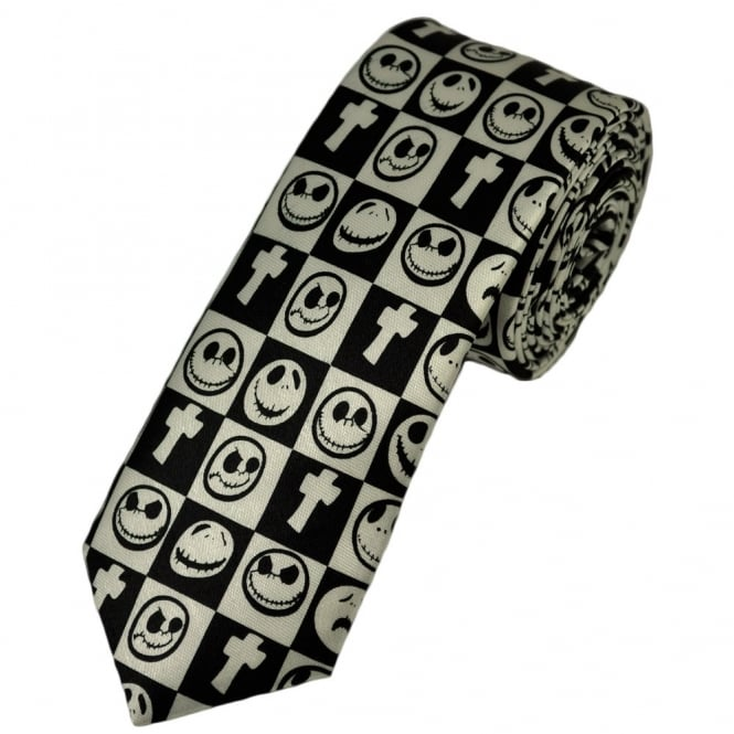 black and white cross and pumpkin faces skinny tie