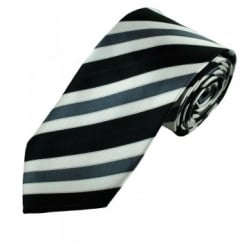 Black, White & Grey Striped Men's Tie