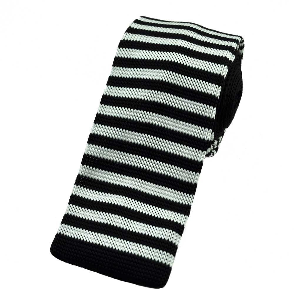 black white horizontal thin striped knitted tie from