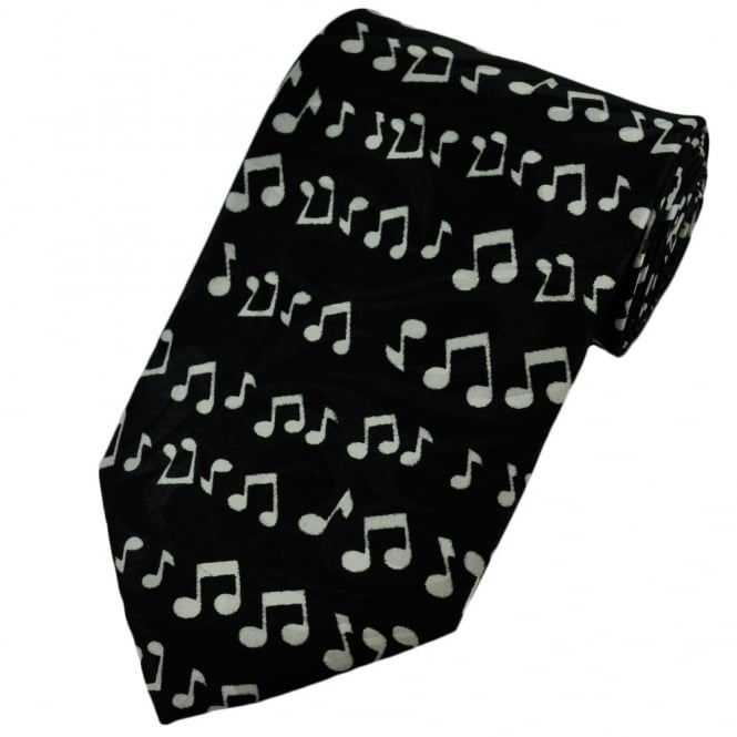 Black & White Music Notes Novelty Tie