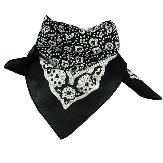 Black & White Paisley Patterned Bandana Neckerchief