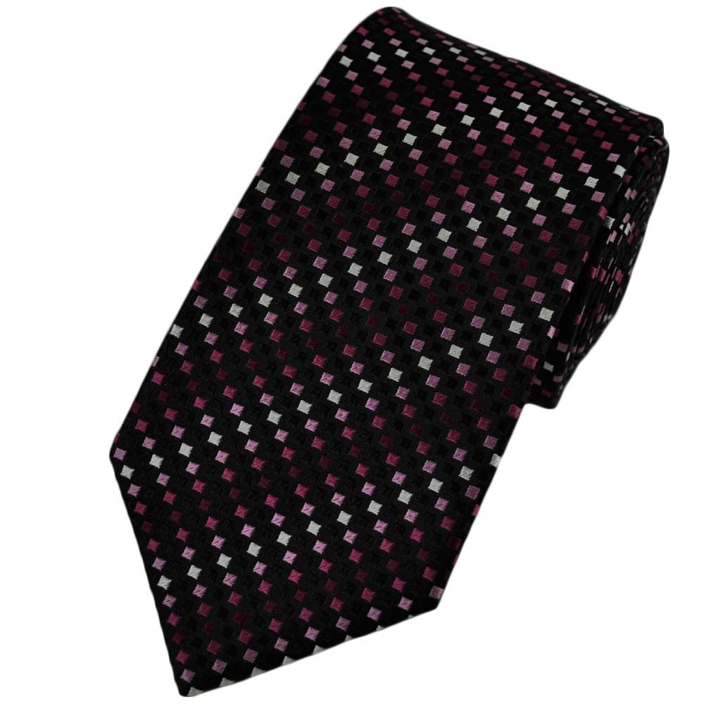black white pink square patterned silk tie from ties