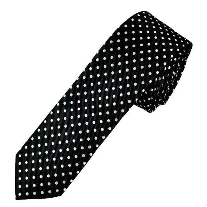 Black & White Polka Dot Men's Skinny Tie