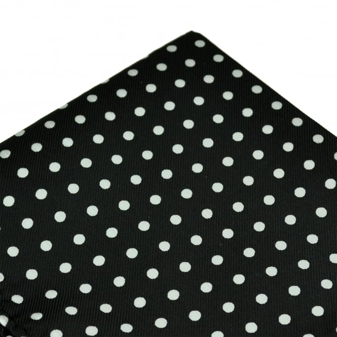 Black & White Polka Dot Pocket Square Handkerchief