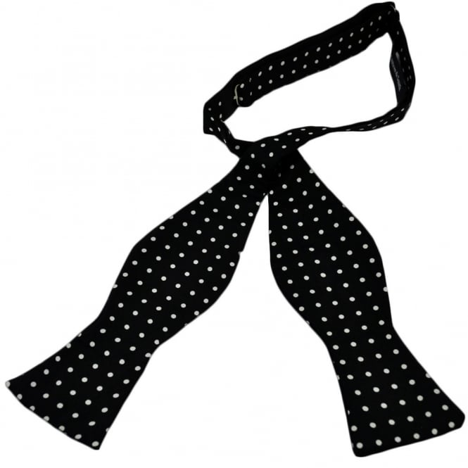 e0c27bf14eee Black & White Polka Dot Self-Tie Silk Bow Tie from Ties Planet UK