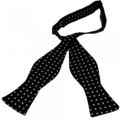 Black & White Polka Dot Self-Tie Silk Bow Tie