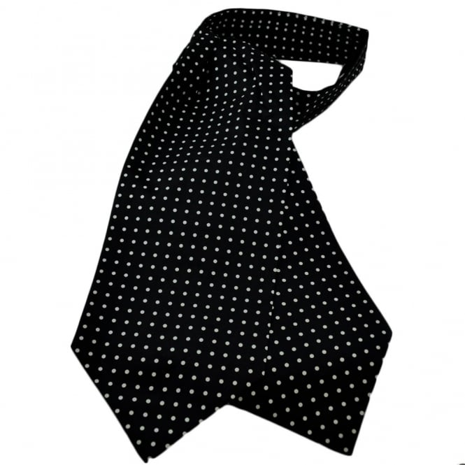 Bridal Wear & Accessories Black & White Polka Dot Silk Cravat