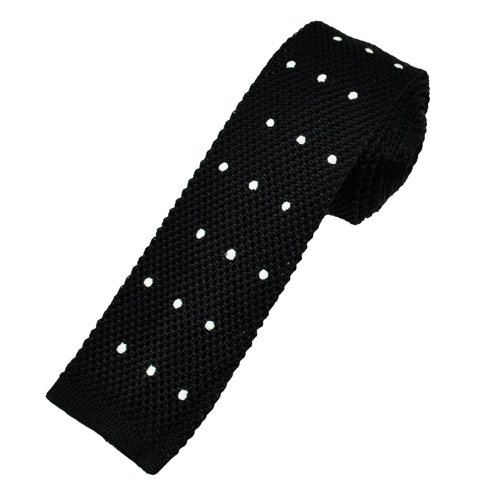Black & White Polka Dot Silk Knitted Tie from Ties Planet UK
