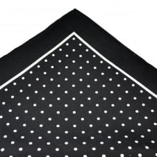 Black & White Polka Dot Silk Pocket Square Handkerchief