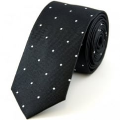 Black & White Polka Dot Silk Skinny Tie