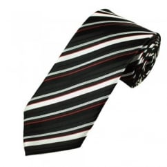 Black, White & Red Striped Men's Tie