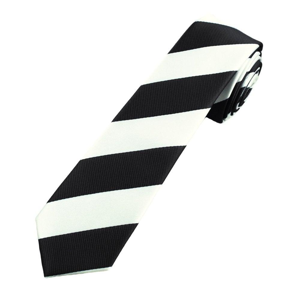 94d3c0f9b660 Black & White Repp Striped Men's Skinny Tie from Ties Planet UK