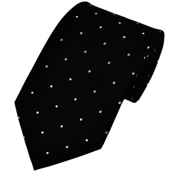 Black & White Silk Polka Dot Tie