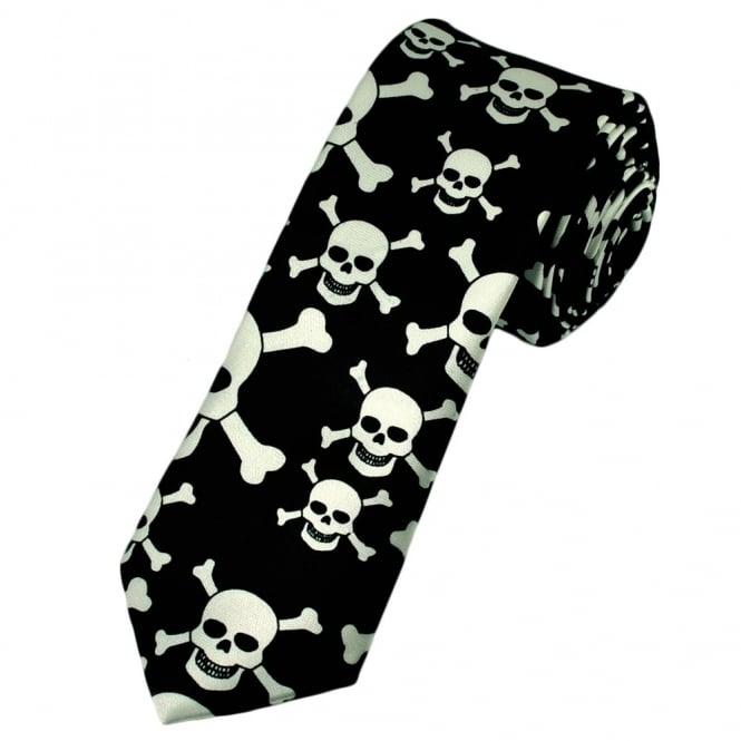 Black White Skull Crossbones Skinny Tie From Ties Planet Uk