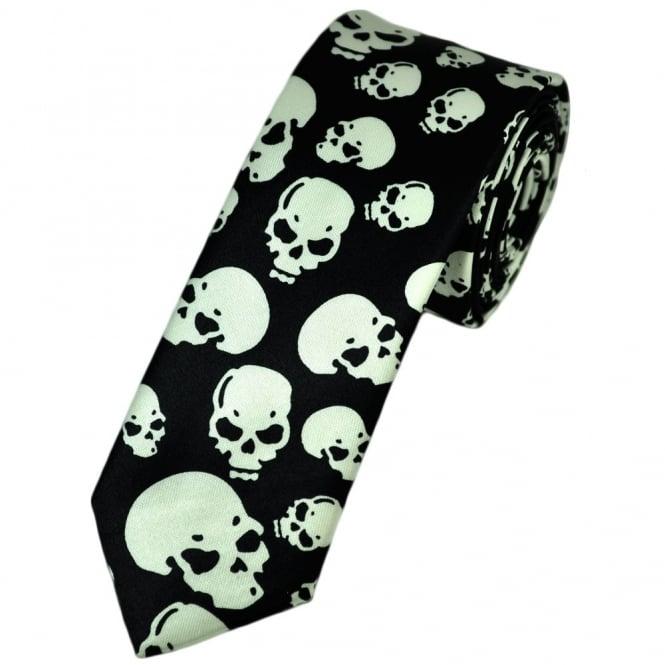 black and white skulls skinny tie