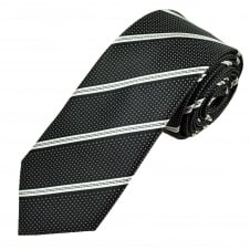 Black & White Striped & Polka Dot Patterned Men's Tie