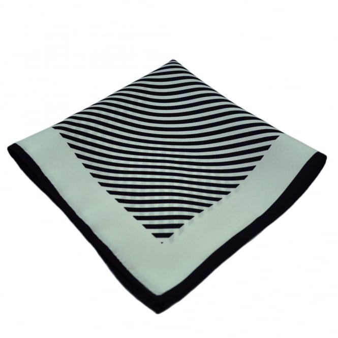 Black & White Striped Silk Handkerchief