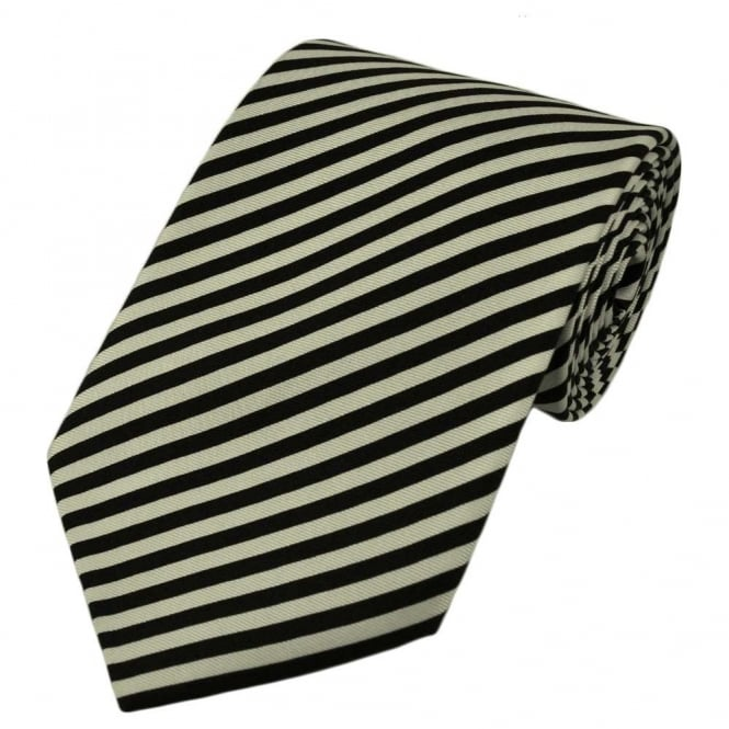 Black & White Striped Silk Tie