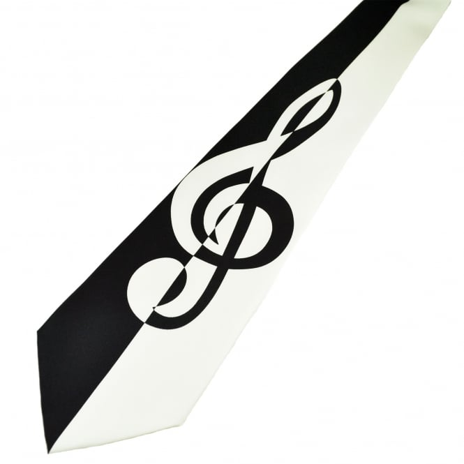Black & White Treble Clef Music Silk Novelty Tie