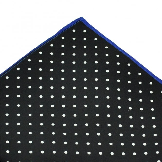 Black & White with Blue Edge Polka Dot Silk Pocket Square Handkerchief